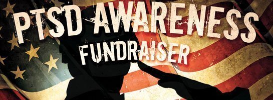 PTSD Awareness Fundraiser banner with black silhouette of a man saluting