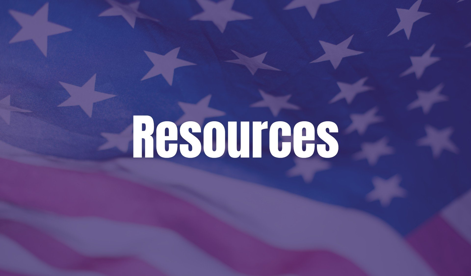 Resources text on an American flag background